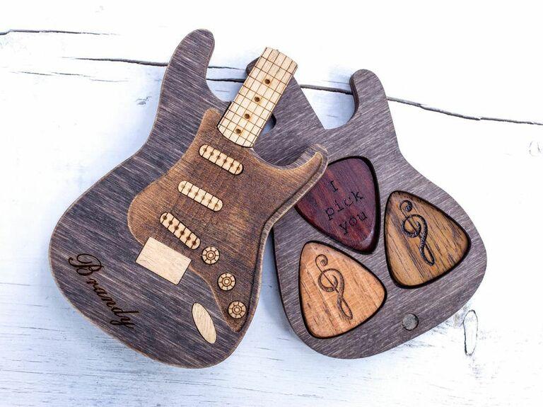 engraved wooden guitar picks