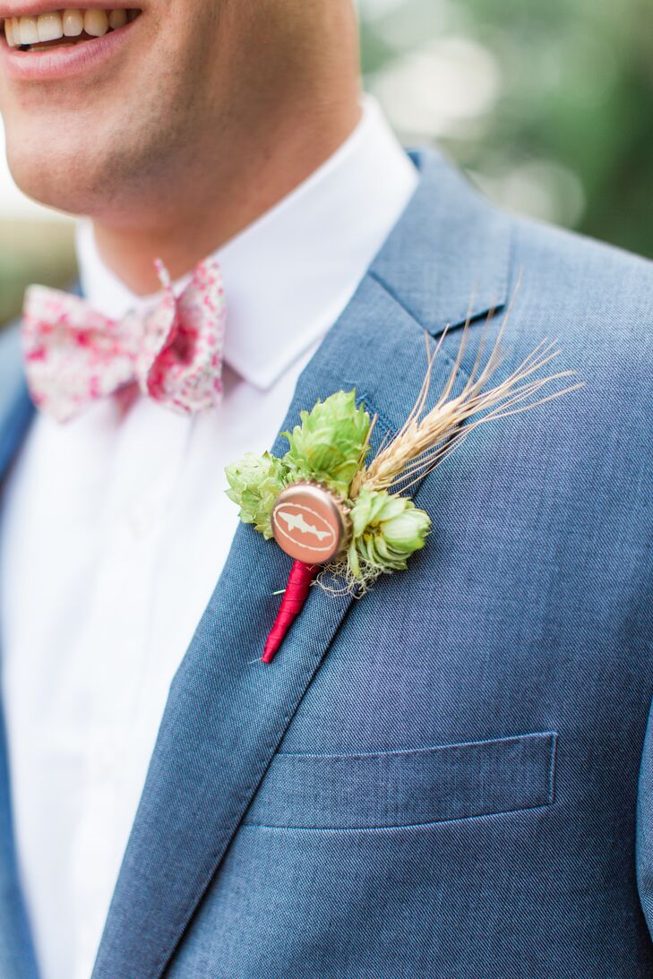 In lieu of traditional flowers, Noah accessorized his lapel with a hops, wheat and a Dogfish Head (Delaware's original microbrewery) bottle-cap boutonniere that popped against the pale blue fabric of his suit.