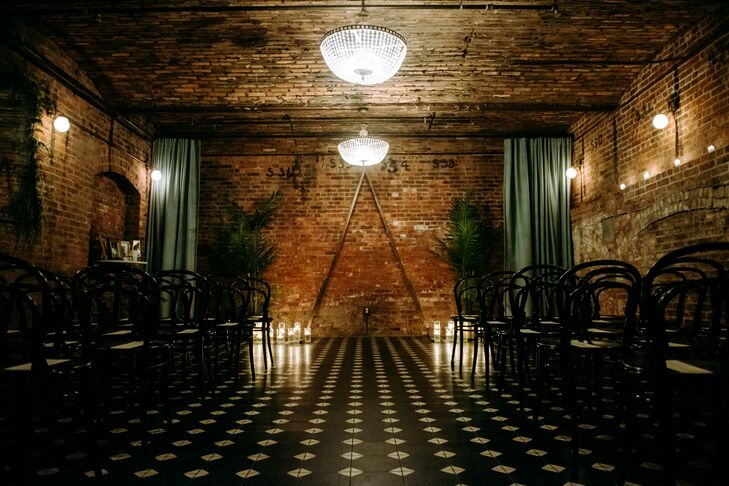 Brick Walls and Patterned Floor at the Wythe Hotel in Brooklyn, New York