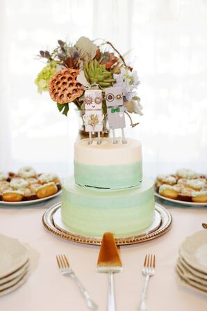 Irish and German Cake With Robot Cake Toppers