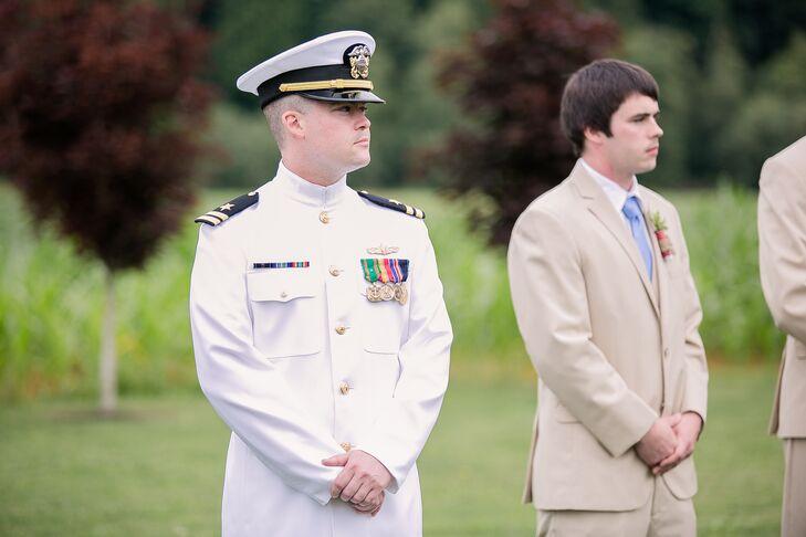 Josh in Military Uniform, Wedding Ceremony