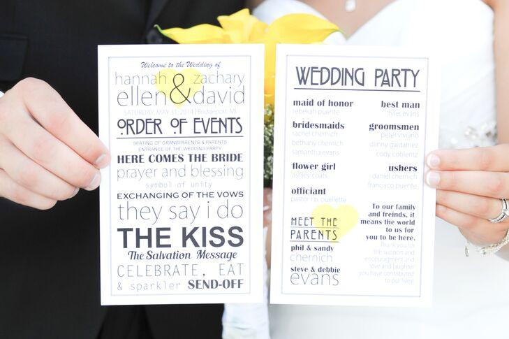 Pale yellow hearts decorated the white and black programs.