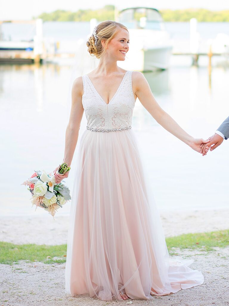 The prettiest blush and light pink wedding gowns blush pink bhldn wedding gown junglespirit Image collections