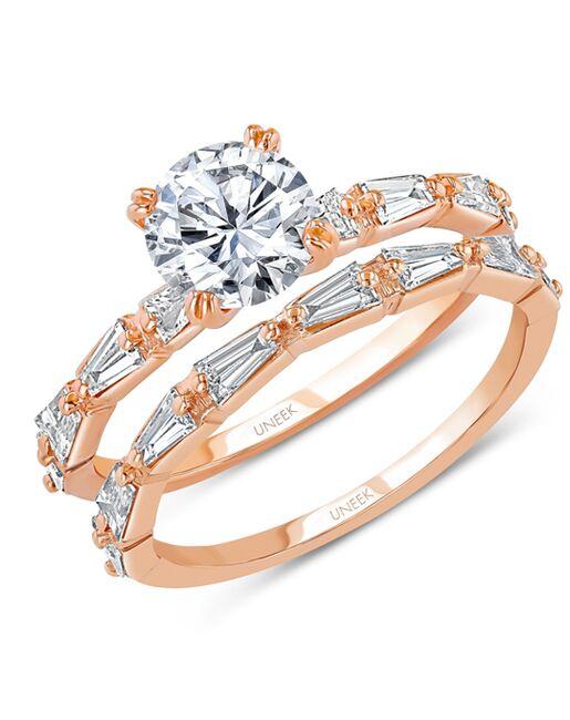Uneek Fine Jewelry SWUS9573B Rose Gold Wedding Ring