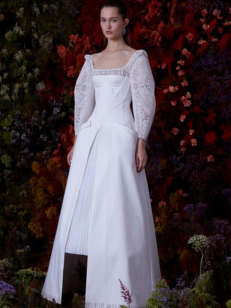 EDEM A-line dress with lace long sleeves