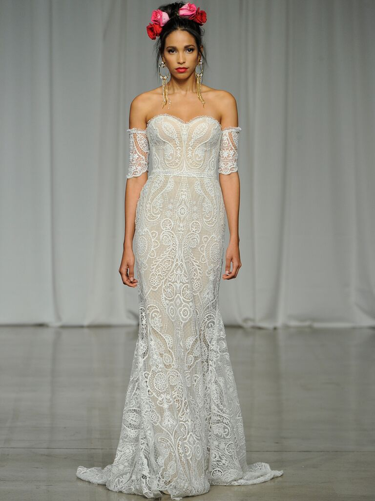 Julie Vino Spring 2019 embroidered lace wedding dress with a sweetheart neckline and off-the-shoulder details