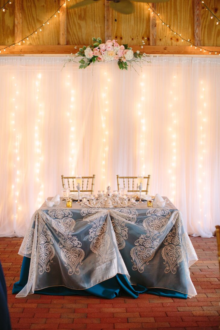 A sweetheart table was set for  the couple's first meal as newlyweds.