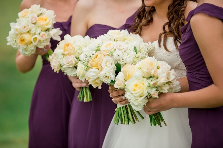 While Chantilly Floral Boutique designed whimsical centerpieces for the couple's reception, they also complemented the couple's religious ceremony with more classic arrangements. Each bridesmaid carried a bouquet of white and yellow roses, white hydrangeas and white tulips. Sarah carried an all-white bouquet that paired nicely with the floral embroidery on her A-line wedding dress.
