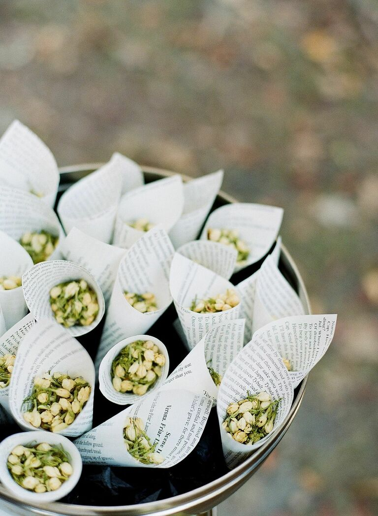 Cones with dried flower buds for ceremony recessional
