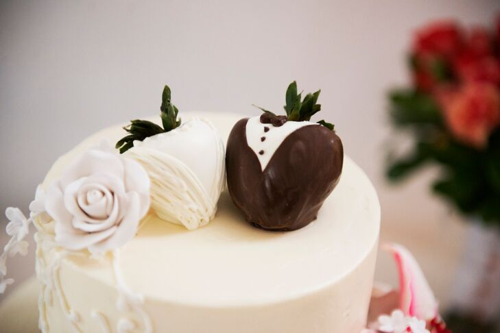 Bride And Groom Chocolate Covered Strawberry Cake Topper