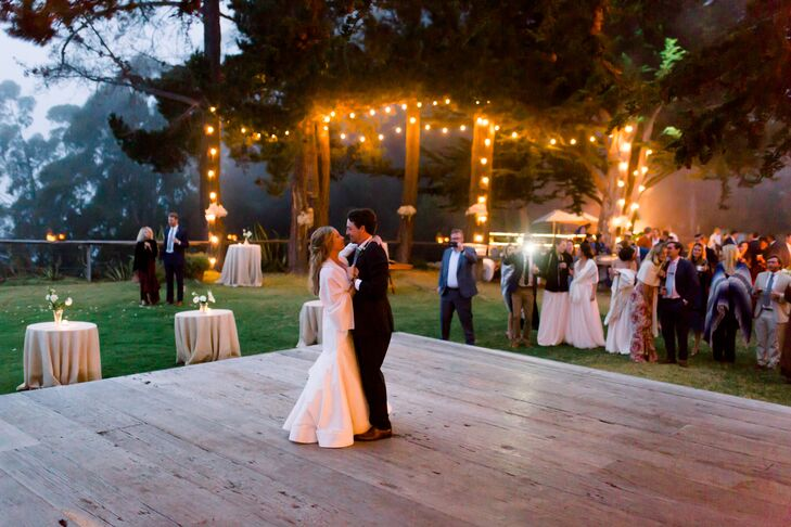 First Dance with String Lights and Outdoor Dance Floor