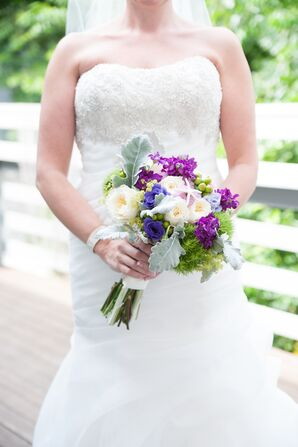 Trumpet-Style Gown and Purple and Ivory Bouquet