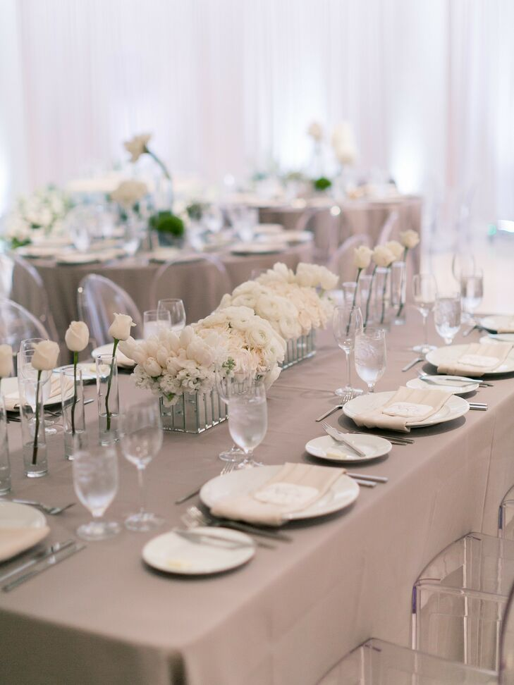 Modern Tablescape with Gray Linens and Minimal White Rose Centerpieces