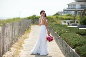Modern Bride, Pink Bouquet and Wedding Dress with Double Strap Back Design