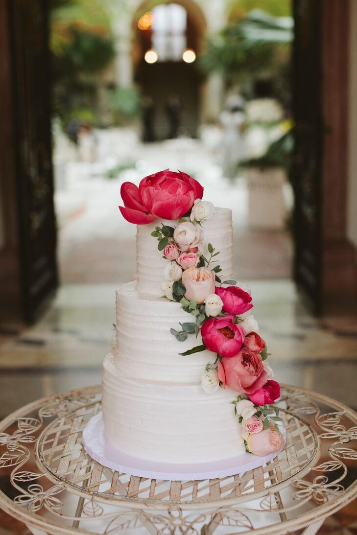 Buttercream Cake with Fresh Pink Peonies