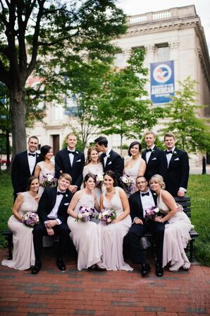 Wedding Party in Taupe Dresses and Black Tuxedos
