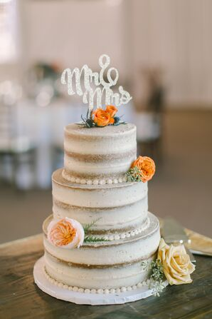 Nearly Naked Cake with Mr. & Mrs. Cake Topper