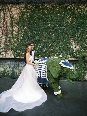 Couple Pose with Elephant Topiary at The Foundry in Long Island City, New York