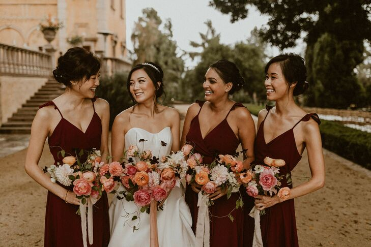 Bridal Party Portraits at Villa del Sol d'Oro in Sierra Madre, California