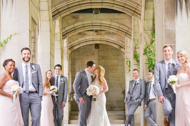 Gray Formalwear and Blush Bridesmaid Dresses
