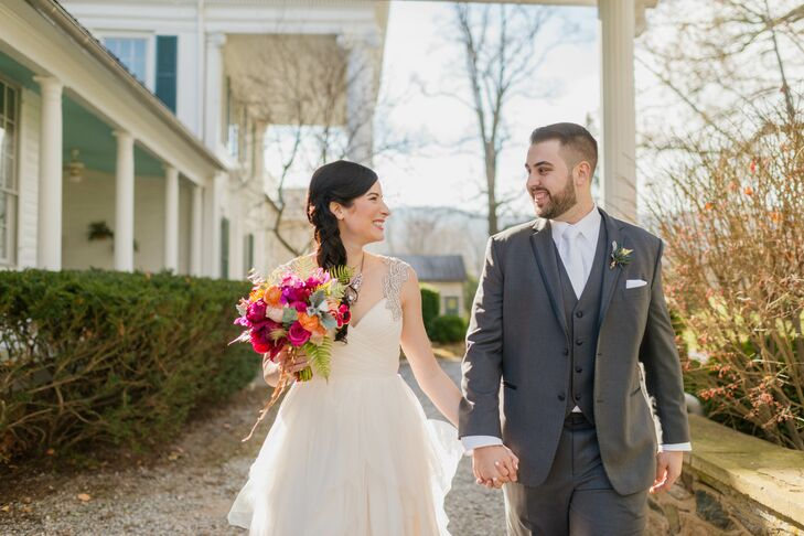 Colorful, jewel-toned whimsy filled Chelsea Gilmer (24 and works in marketing) and Hayden Gilmer's (23 and works in sales and marketing) gorgeous wedd