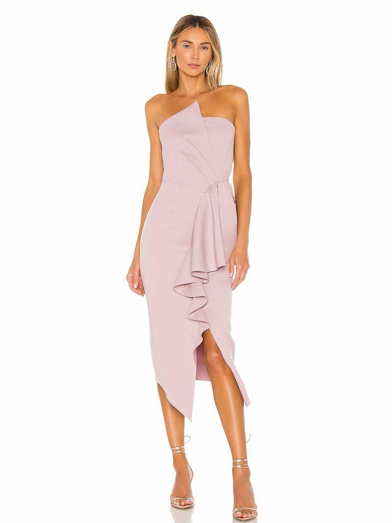 strapless blush midi dress with ruffle details