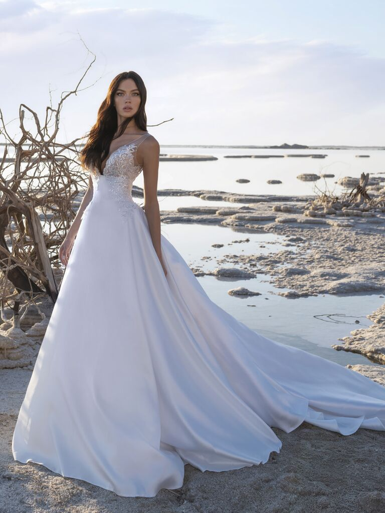 Pnina Tornai Spring 2020 Bridal Collection A-line silk wedding dress with beaded bodice