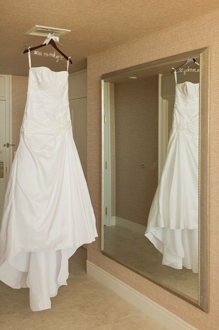 The bride wore this strapless gown from David's Bridal down the aisle.