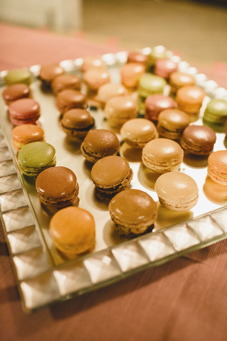 Delicious miniature macarons were given to guests for dessert.