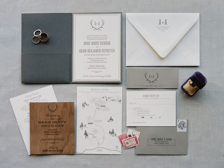 The pair set the tone for their wedding day with their nature-inspired stationary suite, which included a wood veneer insert and other, neutral tones. A ribbon bearing the couple's initials and the silhouette of elk antlers bound the invitations together. Their save-the-date postcards bore a drawing of the mountains around Crested Butte, Colorado.