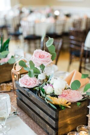 Pink and White Garden Rose Centerpieces
