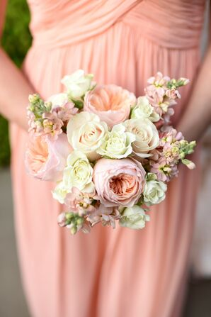 Peach and Ivory Garden Rose Bridesmaid Bouquet