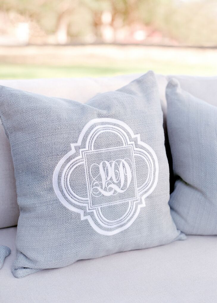 Gray Monogrammed Lounge Pillows