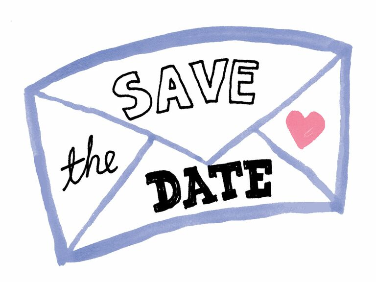 save the date cute illustration