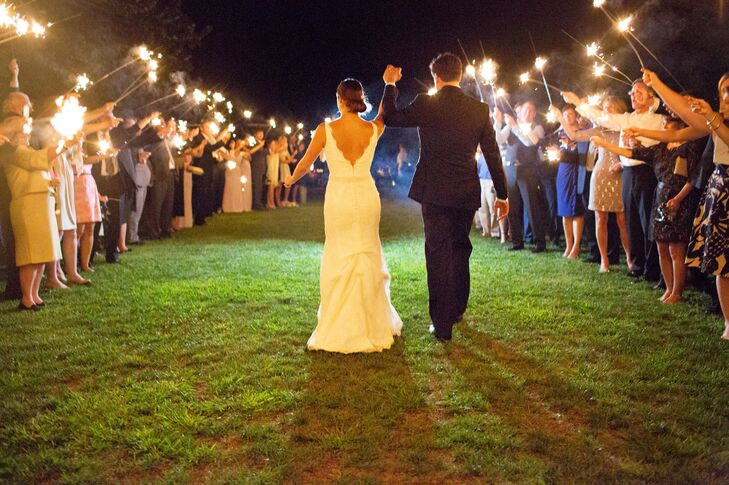 The couple departed Trump Winery with a sparkler send off from family and friends.