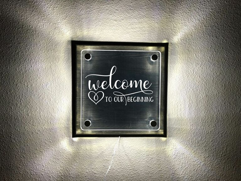 """""""Welcome to our beginning"""" light up wedding sign"""