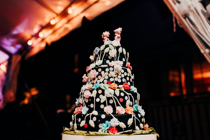 Vibrant Eclectic Floral Wedding Cake