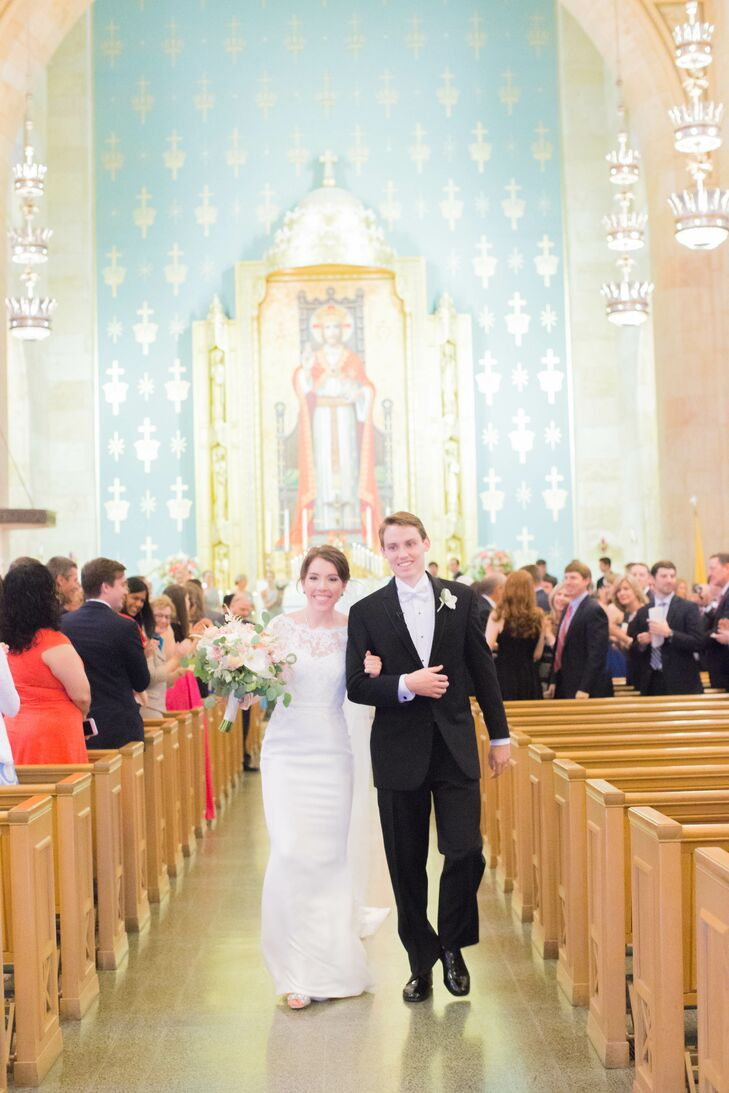 """""""We did minimal decorating of the church—just two floral pieces at the altar,"""" Monica says. """"It almost felt like it would ruin the beauty of the church if we added anything."""""""