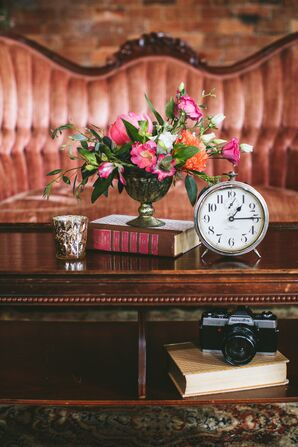 Vintage Clock and Flower Arrangement