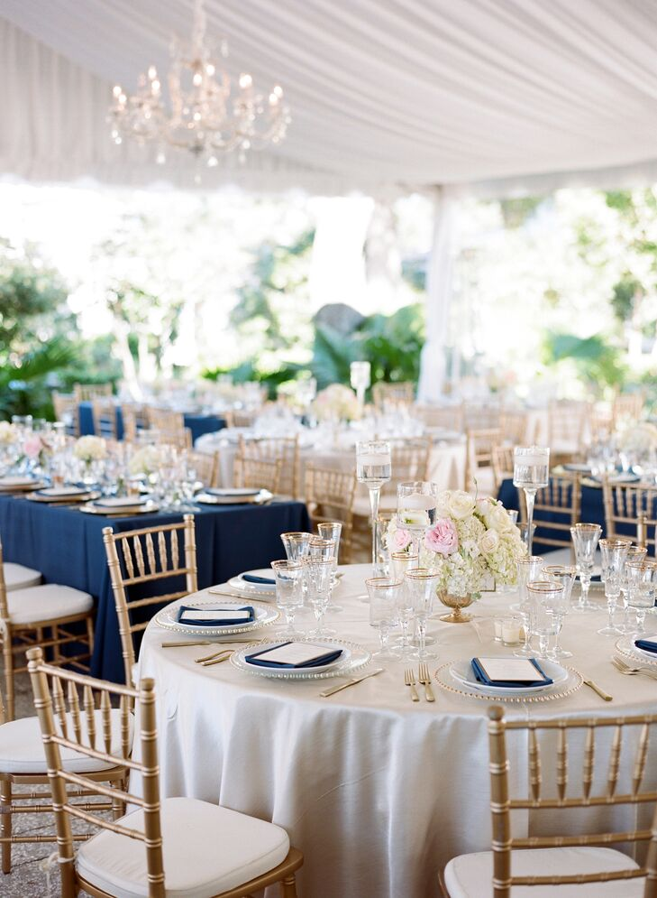 Polished Navy Gold And Blush Reception Decor