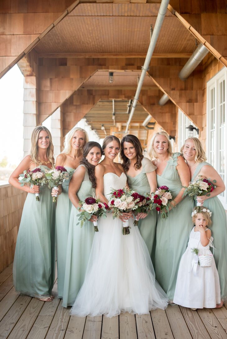 Flower Girl and Bridesmaids in Sage Dresses