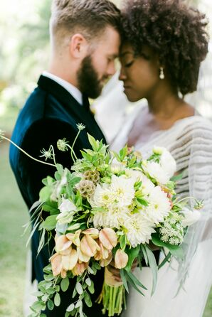 Cascading Bouquet With Greenery and White Chrysanthemums