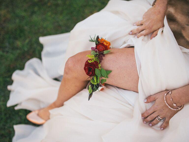Bride wearing floral garter