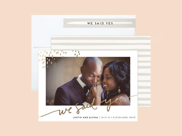 Kelly Ventura gold foil Let Love Shine wedding announcements