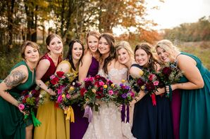Bridemaids in Jewel Tone Dresses at Toledo Country Club in Ohio