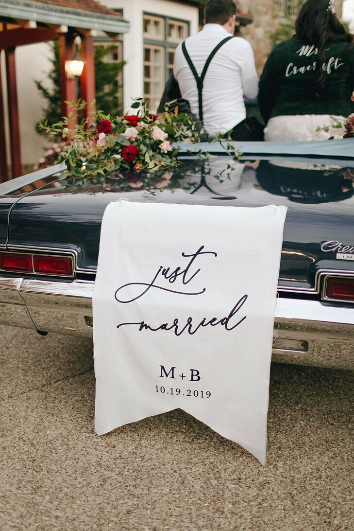 Just Married Getaway Car Sign at The Beverly Mansion in Marengo, Ohio
