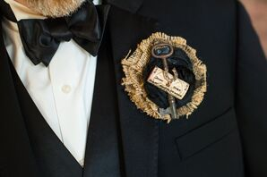 Wine Cork and Skeleton Key Boutonniere