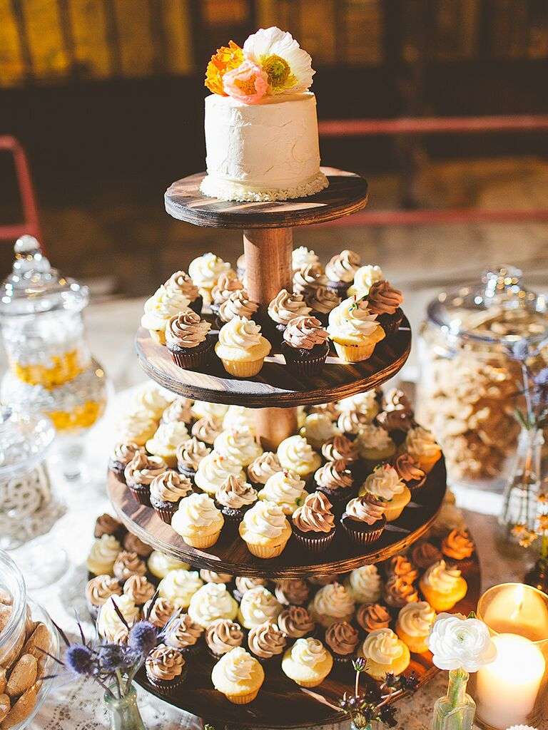 Mini Rustic Wedding Cake And Cupcakes
