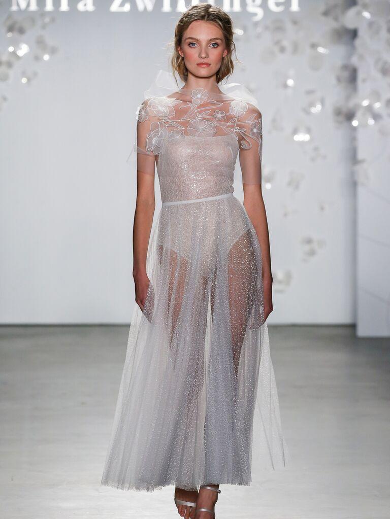 Mira Zwillinger Spring 2020 Bridal Collection sheer tea-length wedding dress