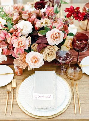 Rose Centerpieces and White-and-Gold Place Settings